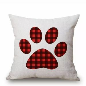 """🐾Christmas Paw Print 18"""" Accent Pillow Cover"""